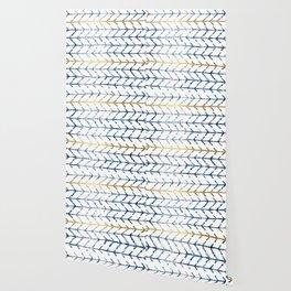 Indigo Gold Herringbone Pattern Wallpaper