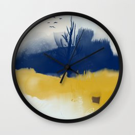 Navy blue and yellow Wall Clock