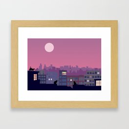 Stray cats on the roofs Framed Art Print