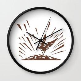 Plover Landing Island Woodcut Wall Clock