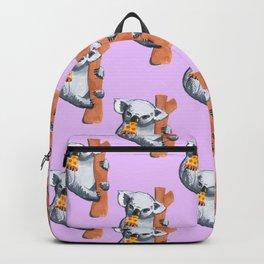 koala eating pizza pattern Backpack