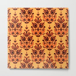 Halloween gold damask ikat Metal Print