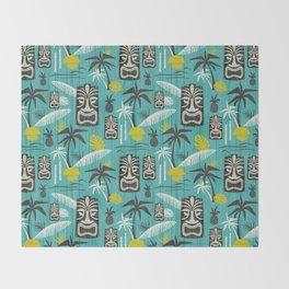 Island Tiki Aqua Throw Blanket