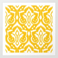 ikat Art Prints featuring Ikat Damask by Patty Sloniger