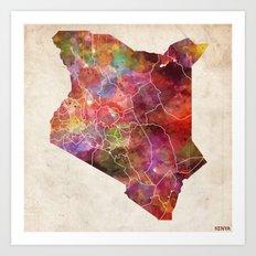 Kenya map Art Print