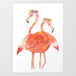 Flamingos with wreaths, 8x10, bird print, watercolor painting, animal illustration, red, pink, sweet Art Print