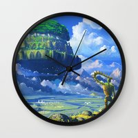 castle in the sky Wall Clocks featuring Castle in the sky by Roberto Nieto