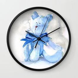 Blue Watercolor Teddy Wall Clock