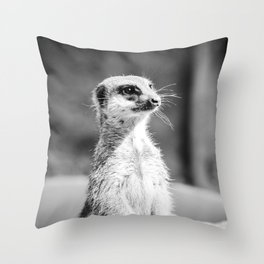 Meerkat at Cologne Zoo - by Cheryl Gerhard Throw Pillow