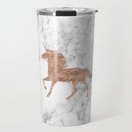 Rose gold unicorn on marble Travel Mug