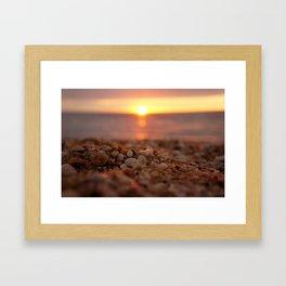 Town Beach Sunset Framed Art Print