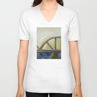 bridge V-neck T-shirts featuring Bridge by Vilnis Klints