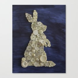 White Rabbit Button Art Canvas Print