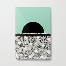 Abstract Concrete and Marble Terrazzo Stone Pastel Green Metal Print