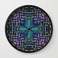 sci fi Wall Clocks featuring Sci Fi Metallic Shell by Phil Perkins
