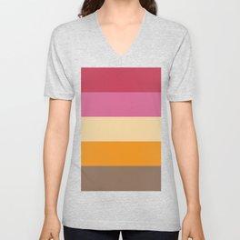 Vivid and Retro Stripes Print Unisex V-Neck