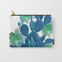 SURREAL BLUE PEAR CACTUS & FLOWERS DESERT ART Carry-All Pouch