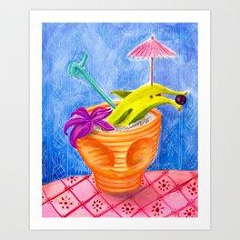 Tiki Drink no.2 with banana dolphin Art Print