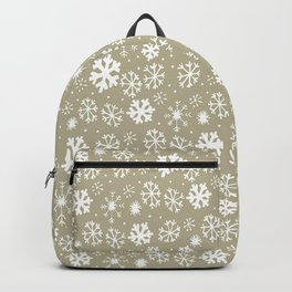 Hand Drawn Snowflake Snowstorm With Greige Background Backpack