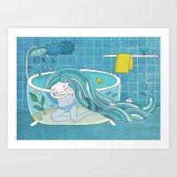sea bath Art Print