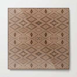 Abstract Pattern inspired by Navajo Weaving in Earthtones Metal Print