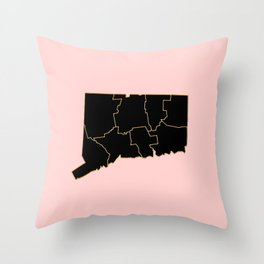 Connecticut map Throw Pillow