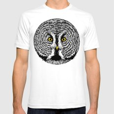 Round Owl Mens Fitted Tee SMALL White