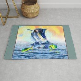 Jumping blue Marlin Chasing Bull Dolphins Rug