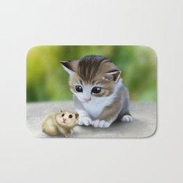 cute kitty and hamster Bath Mat