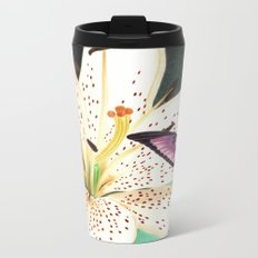 White Lily Metal Travel Mug