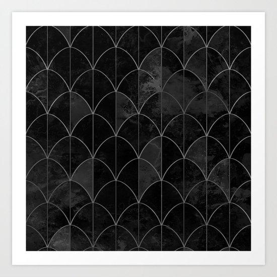 Mermaid scales in black and white. Art Print