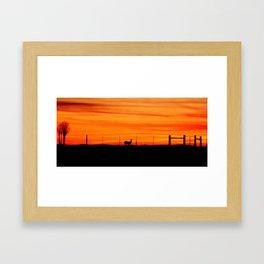 Deer at Sunset Framed Art Print