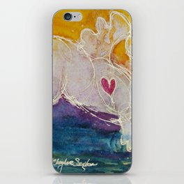pink golden heart horse pony watercolor by CheyAnne Sexton iPhone Skin
