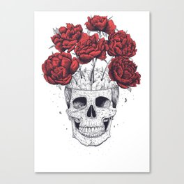 Skull with peonies Canvas Print