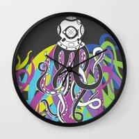 scuba Wall Clocks featuring Scuba Squid by Joanna Jayakaran