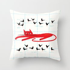 Cat Amongst The Pigeons Throw Pillow