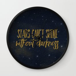Stars- Darkness - sparkling gold glitter effect night typography on #Society6 Wall Clock