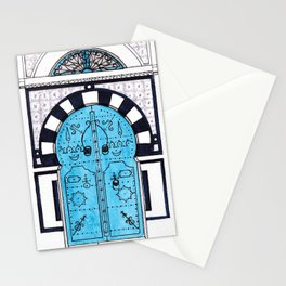 Blue Door in Sidi Bou Said with tiles Stationery Cards