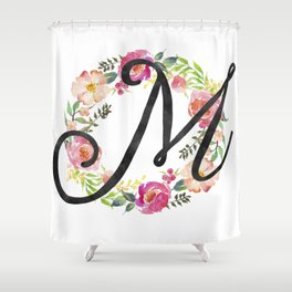 Floral M Monogram Shower Curtain