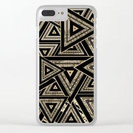 Gold and Black Triangle Abstract Multi Pattern Design Clear iPhone Case