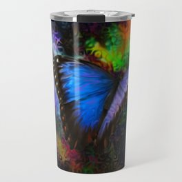 Blue Morpho Butterfly With Many Colors By Annie Zeno  Travel Mug