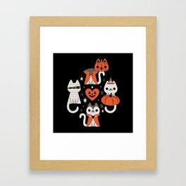 Halloween Kitties (Black) Framed Art Print