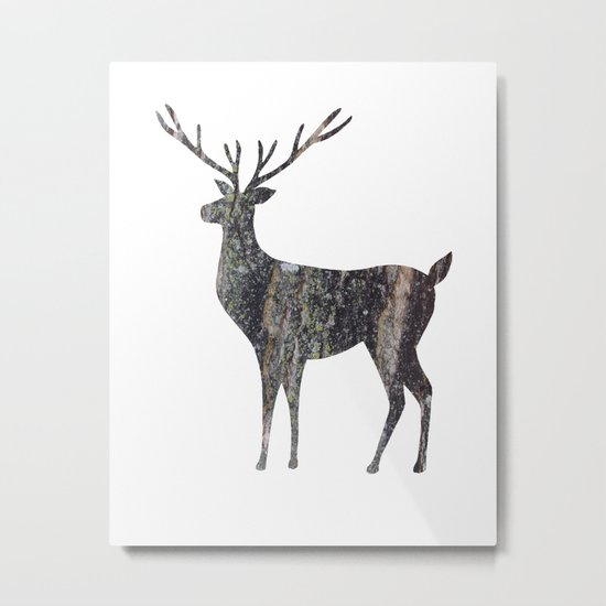 deer silhouette stag black bark with lichen Metal Print