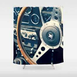 Old Triumph Wheel / Classic Cars Photography Shower Curtain