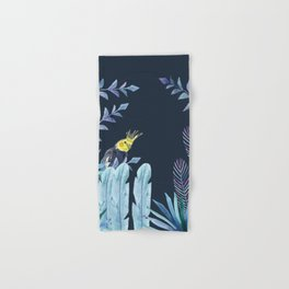 Cockatiel with tropical leaves and dark blue background Hand & Bath Towel