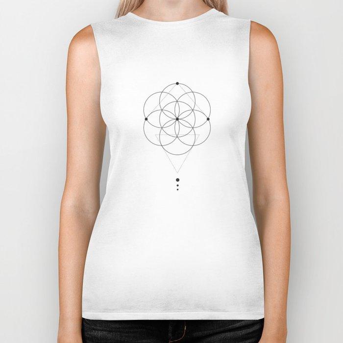 Seed Of Life Geometry White Biker Tank