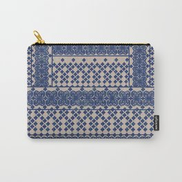 layout with geometric florals in blue Carry-All Pouch