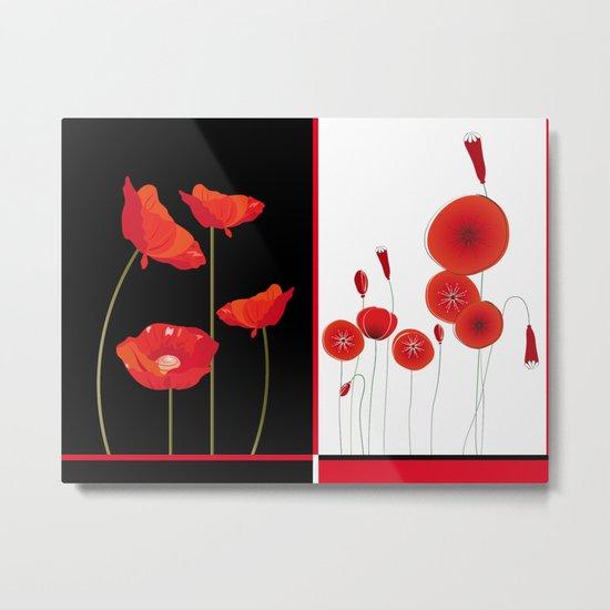Flaming Poppies Metal Print