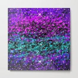 Starry Night Purple Aqua Blue Metal Print