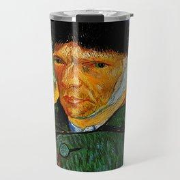 Van Gogh, Self-Portrait with Bandaged Ear and Pipe  – Van Gogh,Vincent Van Gogh,impressionist,post-i Travel Mug